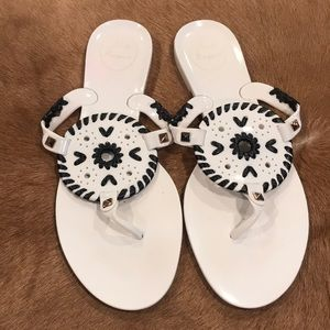 Jack Rogers Georgica Jelly Sandals Black and White